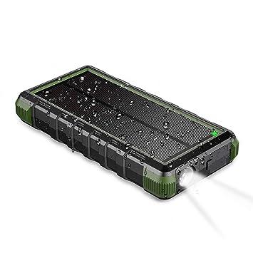 EasyAcc Batería Externa 24000mAh Resistente al Agua Polvo y Golpes Cargador de Viaje USB C para iPhone Samsung Tabletas Negro y Verde