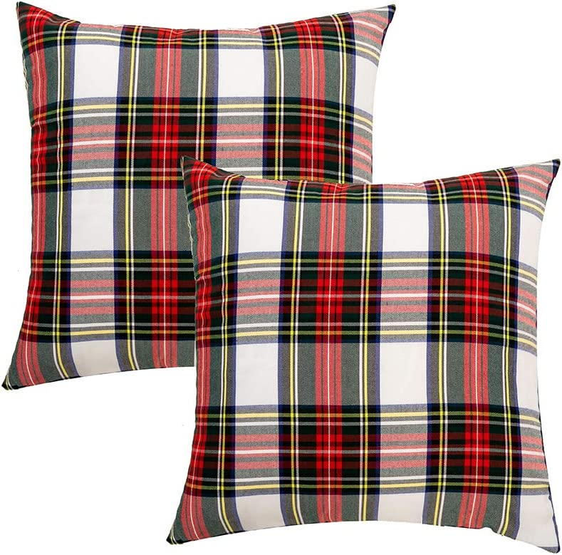 GTEXT 2 Pack Christmas Decor White Plaids Pillow Covers Buffalo Check Throw Pillow Cover Tartan Cuhion Cover Case for Couch Sofa Home Decoration Cotton 20 X 20 Inches
