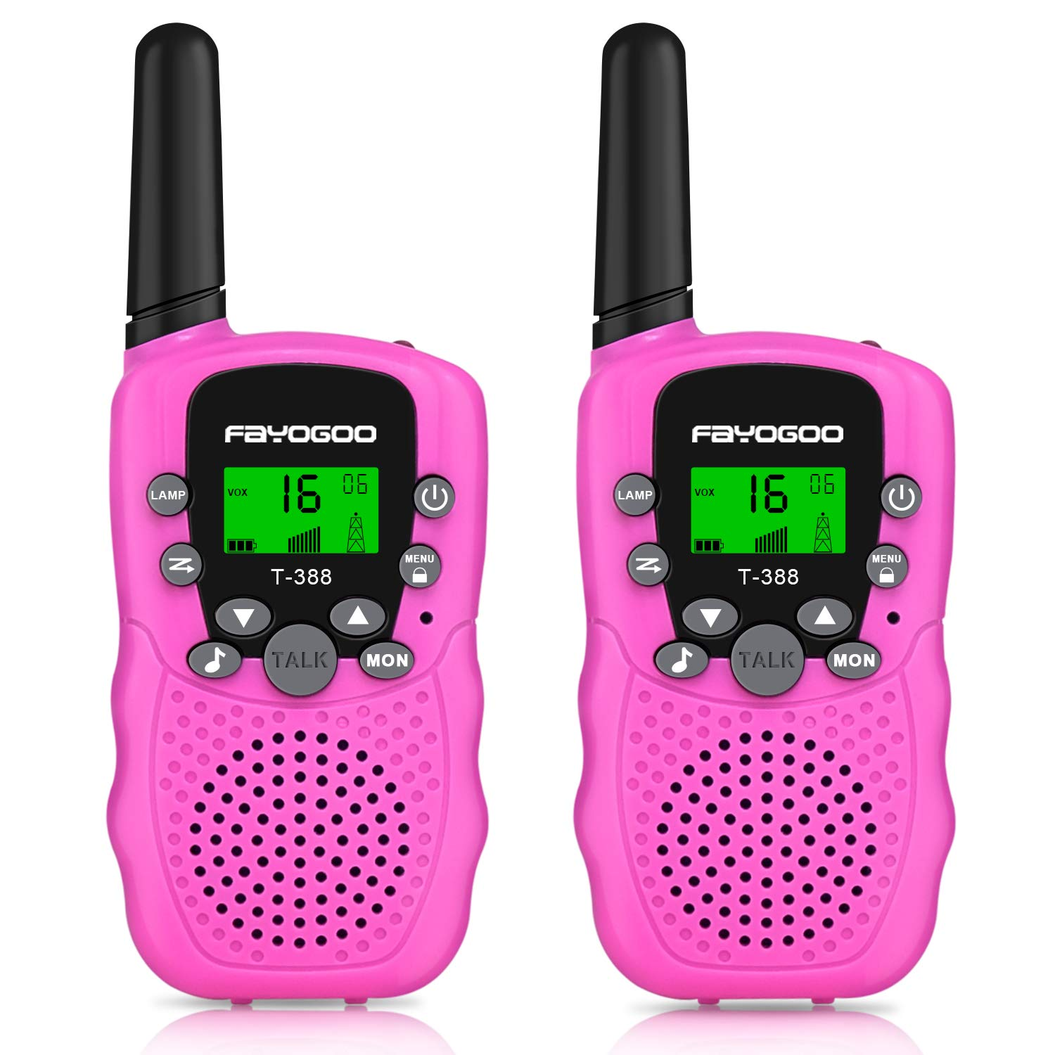 FAYOGOO Kids Walkie Talkies, 22-Channel FRS/GMRS Radio, 4-Mile Range Two Way Radios with Flashlight and LCD Screen, and Toys for 3-12 Year Old Boys and Girls (Cute Pink) by FAYOGOO