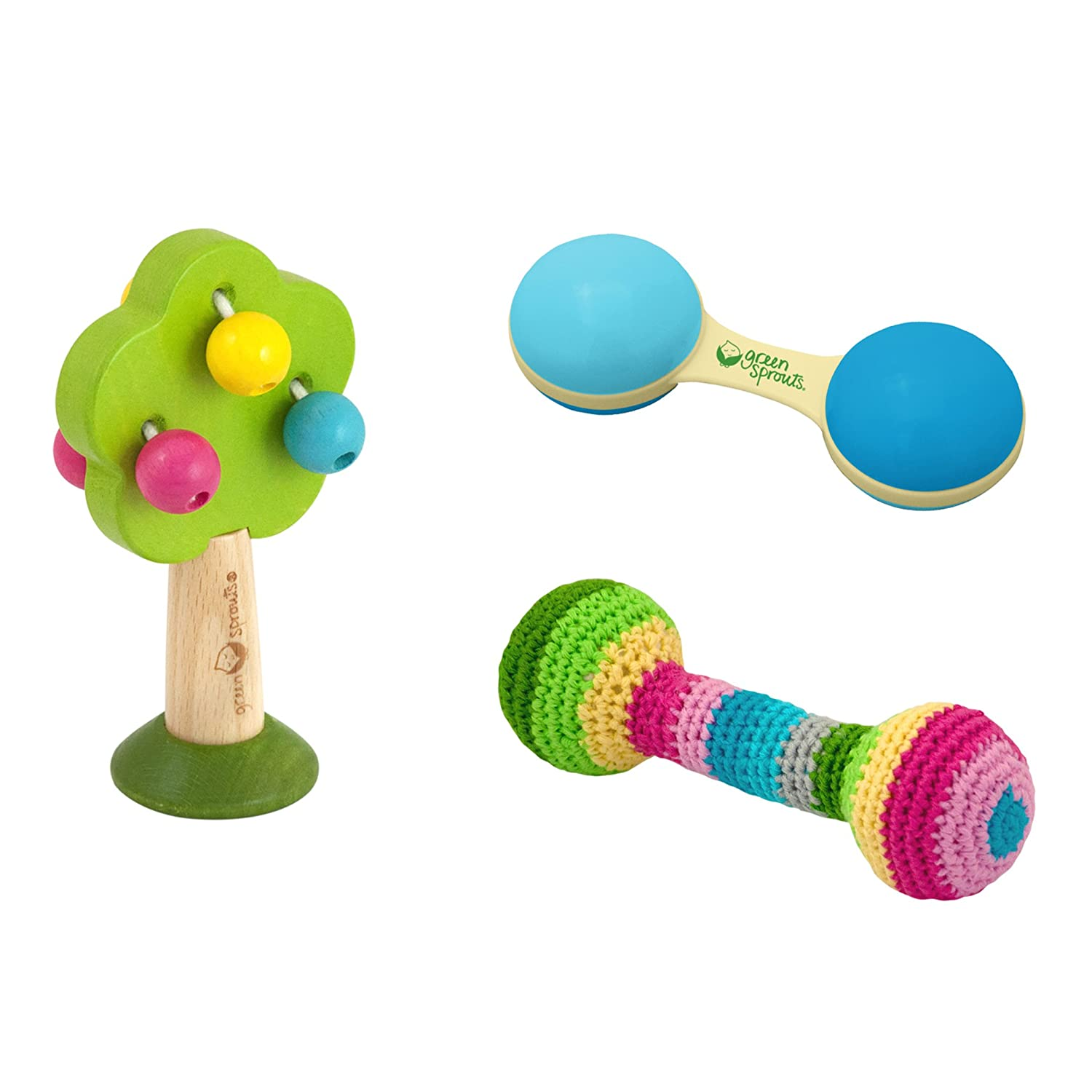 243371-920-33 Multicolor i play green sprouts Plant-based Rattle Set