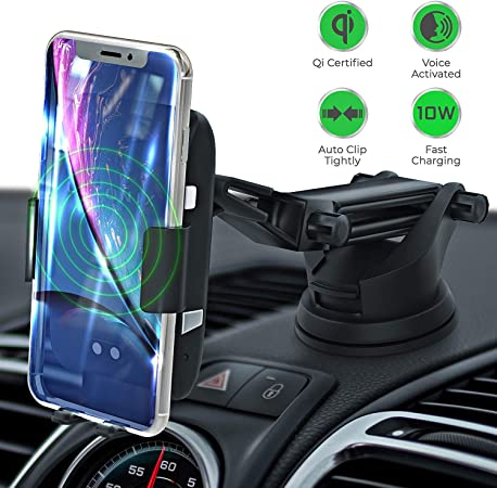 LEXONIX Wireless Car Charger Mount, Qi Wireless Car Charger Fast Charging Phone Holder for Car, Provides 10w for Samsung Galaxy S10 S10 S9 S9 S8 S8 or 7.5w iPhone Xs Xs Max XR X 8 8 Plus
