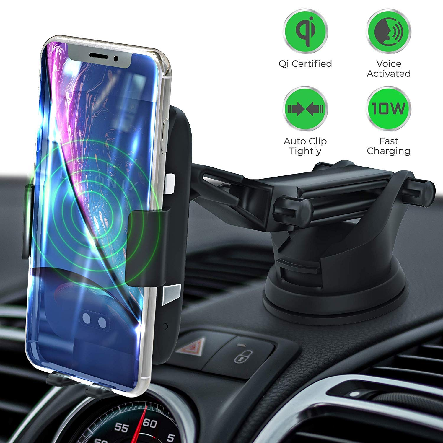 LEXONIX Wireless Car Charger Mount, Qi Wireless Car Charger Fast Charging Phone Holder for Car, Provides 10w for Samsung Galaxy S10 /S10+/S9 /S9+/S8 /S8+ or 7.5w iPhone Xs/Xs Max/XR/X/ 8/8 Plus by LEXONIX