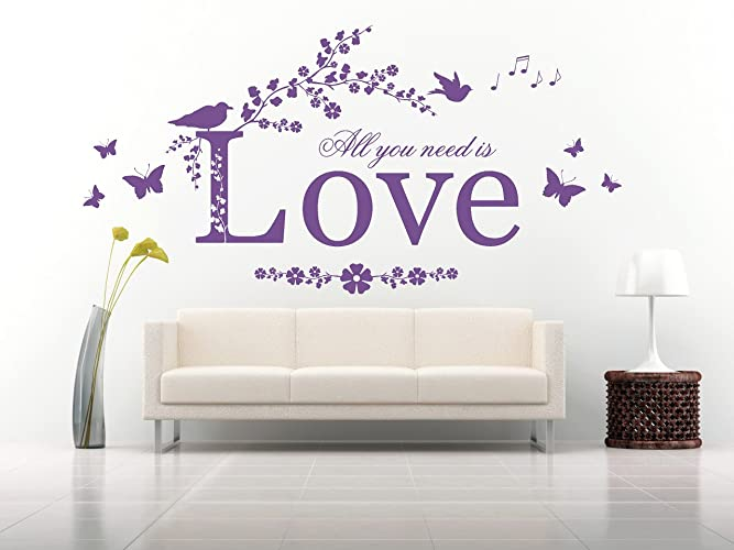 Amazon.com: All you need is Love Quote, Vinyl Wall Art Sticker ...