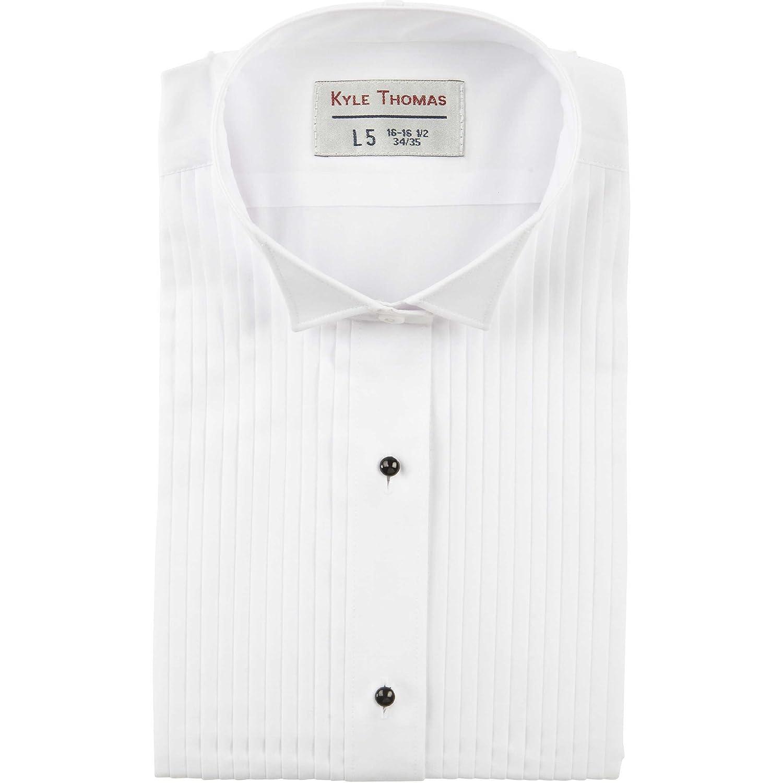 Kyle Thomas Men's 1/4 Pleat Wing Collar Tuxedo Shirt 100BK