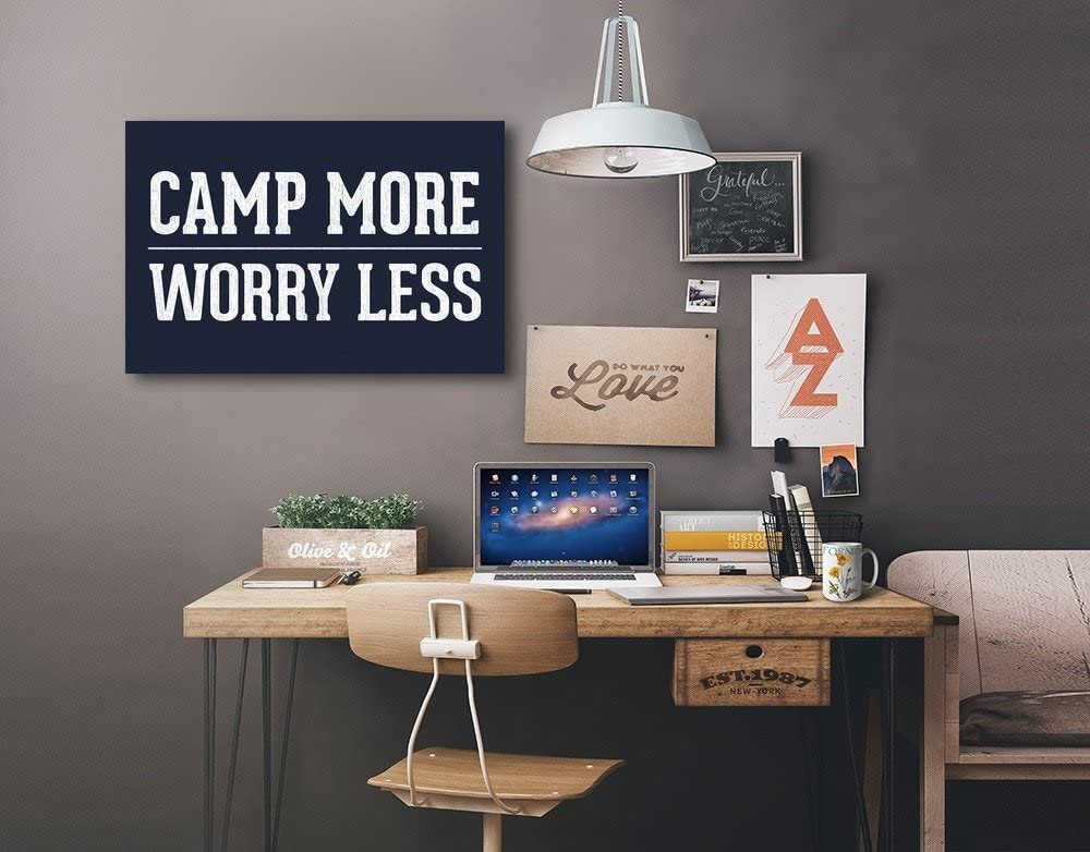 36x24 Gallery Quality Metal Art Rustic Simply Said Camp More Worry Less