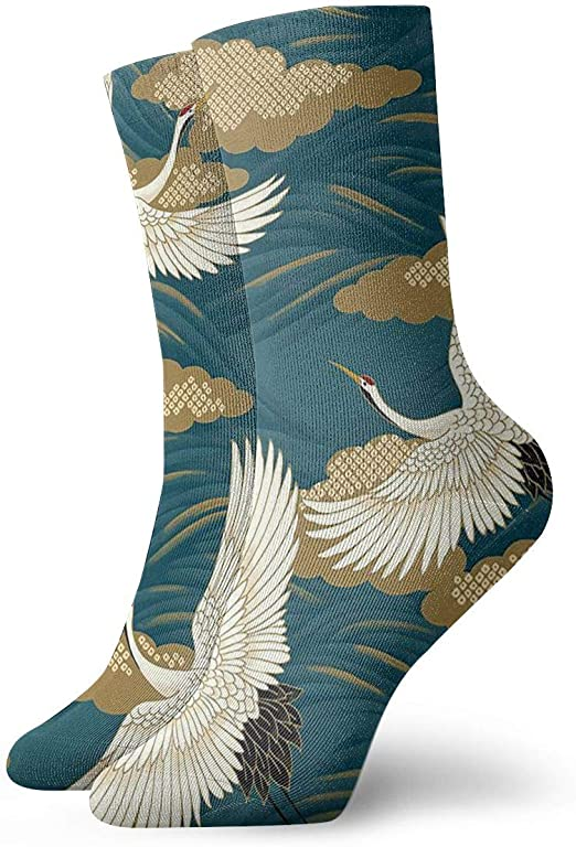 Colorful Feathers Compression Socks For Women Casual Fashion Crew Socks