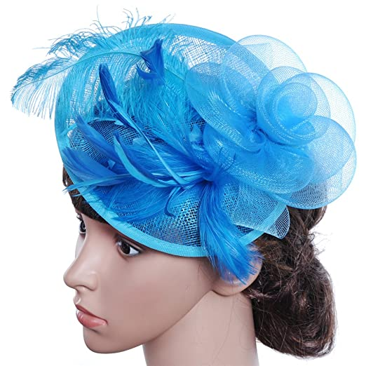 16b0e73e07404 APXPF Womens Feather Mesh Net Sinamay Fascinator Hat with Hair Clip Tea  Party Derby Blue