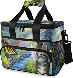 Extra Large Insulated Lunch Bag Cat Angel Kitty Butterfly Art Leakproof Lunch Box for School Office Outdoor Activities