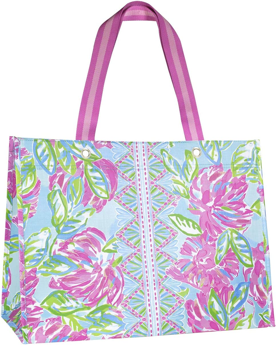 Lilly Pulitzer Pink/Green XL Market Shopper Bag, Oversize Reusable Grocery Tote with Comfortable Shoulder Straps, Totally Blossom
