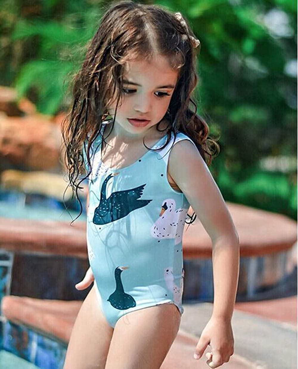 Fartido Kid Girl Eye Print Striped Swimsuits Jumpsuit Swimwear Beach Clothes