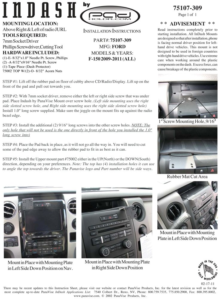 Padholdr Edge Series Premium Tablet Dash Kit for 2009-2014 Ford F-150 with or without Navigation