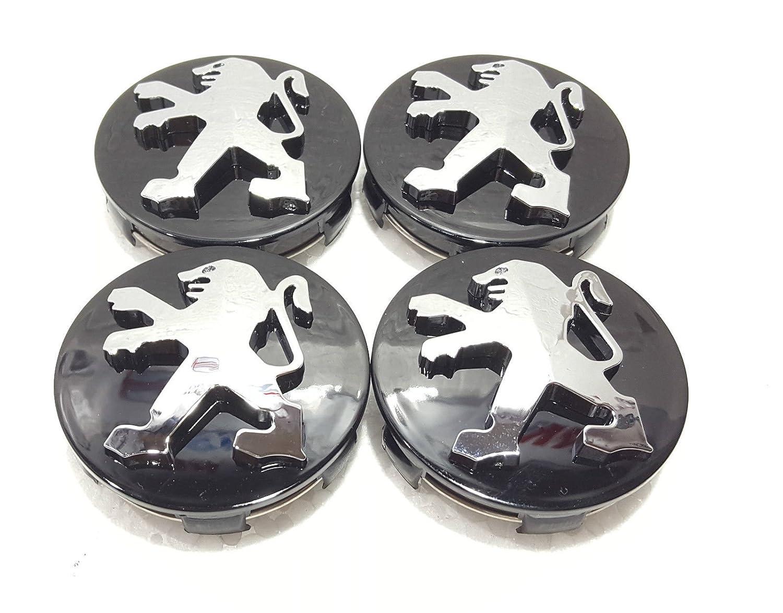 Peugeot negro aleación de rueda center caps conjunto de 4 60 mm para 306,307,206,107,406,407: Amazon.es: Coche y moto