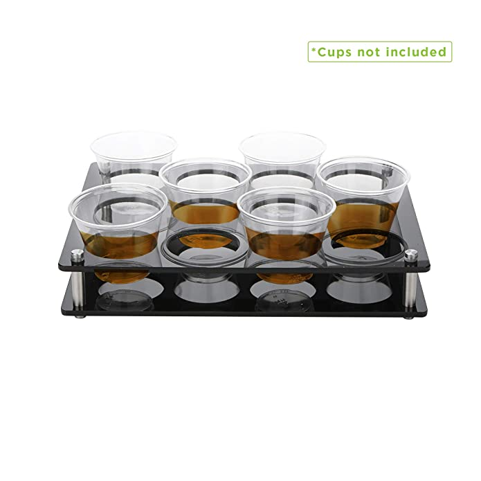 Mind Reader 12 Rectangle Slot Cup Holder Tray, Cup Holder Display for Kitchenware, Acrylic Glass Holder, Black