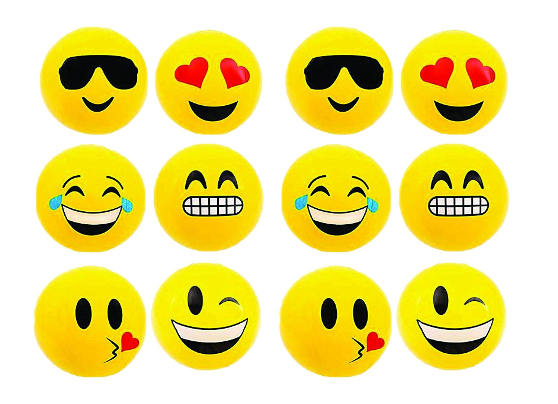 RIN Emoji Beach Balls Inflatable, Pool Birthday Party Toys, 12 Piece wellknown beachball-12a