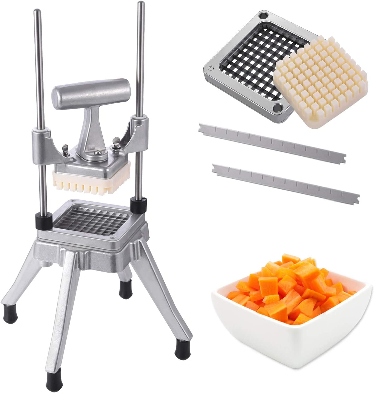Frifer Commercial Vegetable Fruit Chopper French Fry Cutter 1/4″ Blade Heavy Duty Professional Food Dicer Stainless Steel Potato Chopper for Onion Peppers Potatoes Mushrooms,(Silver)