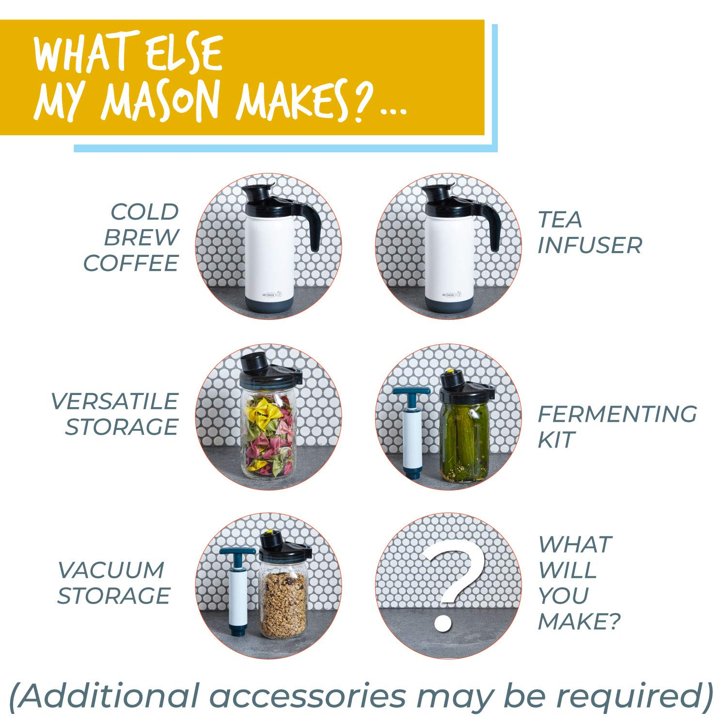 Storing - Updated Material and Handle 2 Lids, 2 Handles, 2 Pour Caps, 2 Filters Pouring My Mason Makes Wide Mouth Mason Jar Lids for Drinking