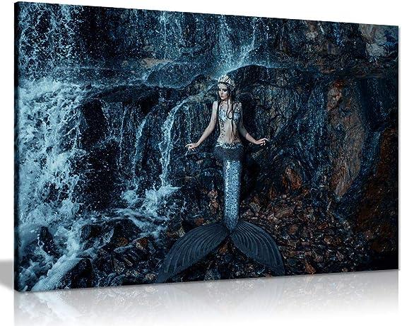 12x16 Original Oil Painting Fantasy Wall Art Mermaid Girl Pretty Betta Fish Pink Blue Underwater Ocean Sea