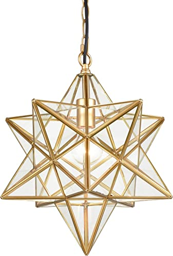 DANXU Moravian Star Light Modern Brass Pendant Light 15 Inches