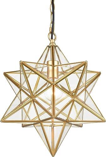 DANXU Moravian Star Light Modern Brass Pendant Light 15 Inche