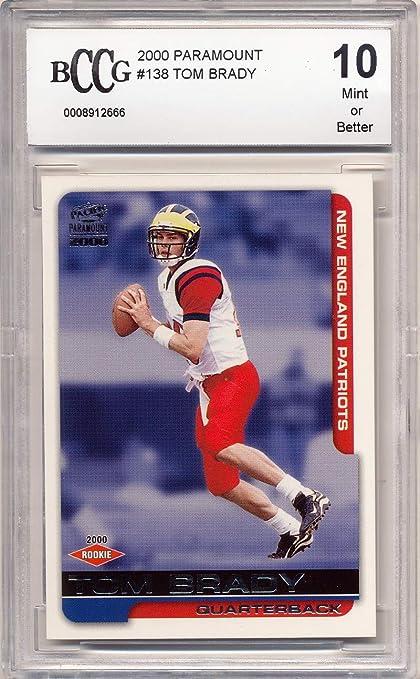 2000 Paramount 138 Tom Brady Rookie Card Graded Bccg 10