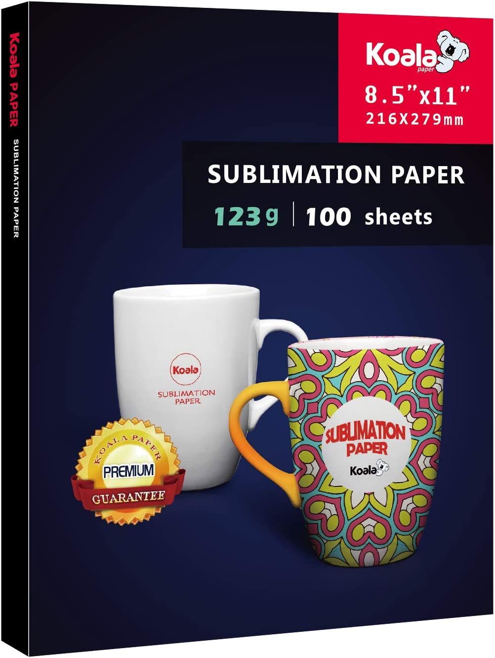 Koala Sublimation Heat Transfer Paper 8.5x11 Inches for Inkjet Printer Compatible with Sublimation Ink 100 Sheets