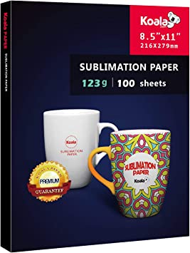 NEW Koala 8.5x11 Dye Sublimation Heat Transfer Paper Sheets Mug Cotton Polyester