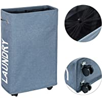 WISHPOOL Slim Slide Foldable Laundry Hamper Thicken Oxford Cloth Laundry Basket with Mesh Wheels