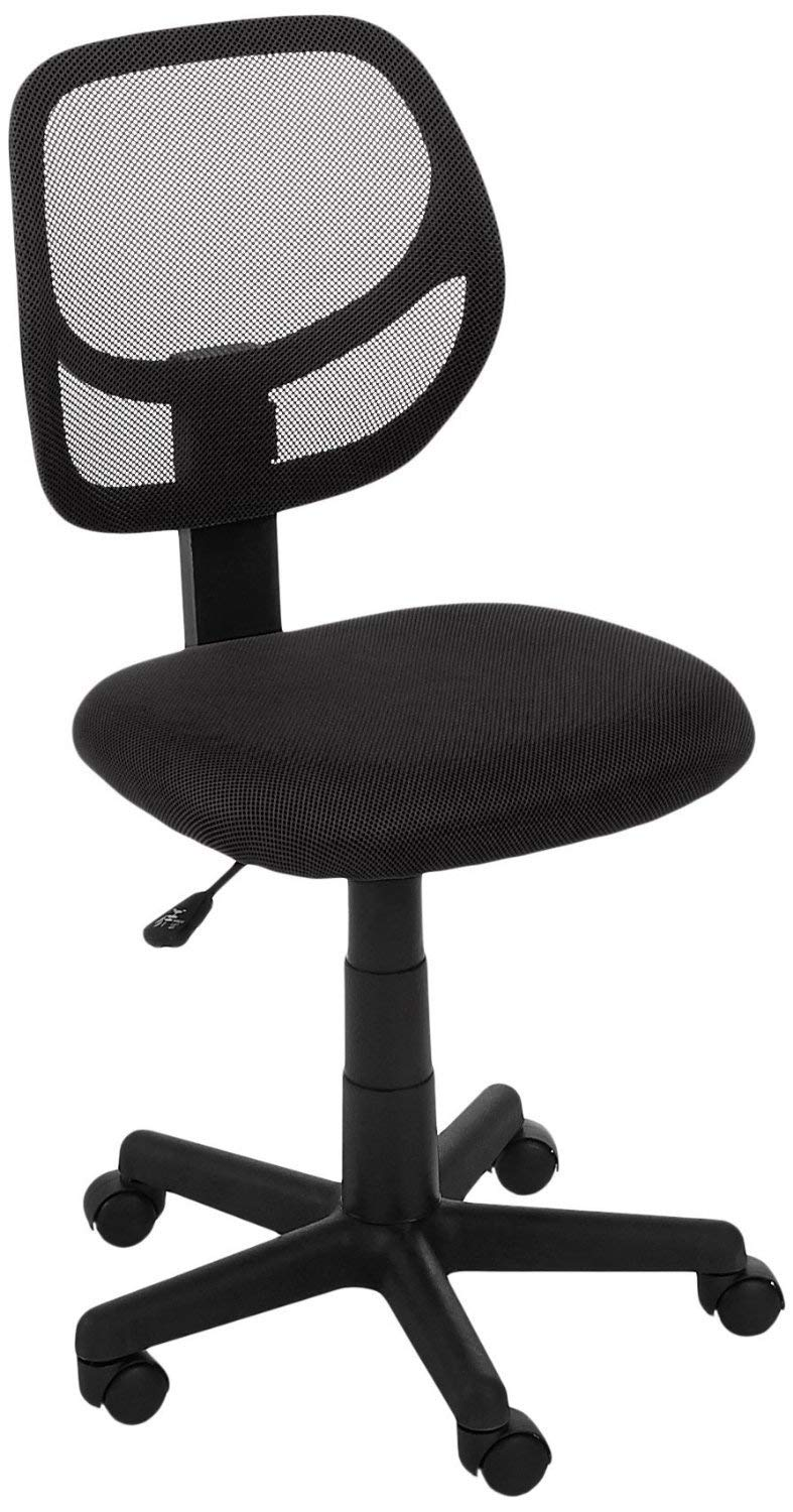 AmazonBasics Low-Back Computer Task/Desk Chair with Swivel Casters - Black (Renewed)