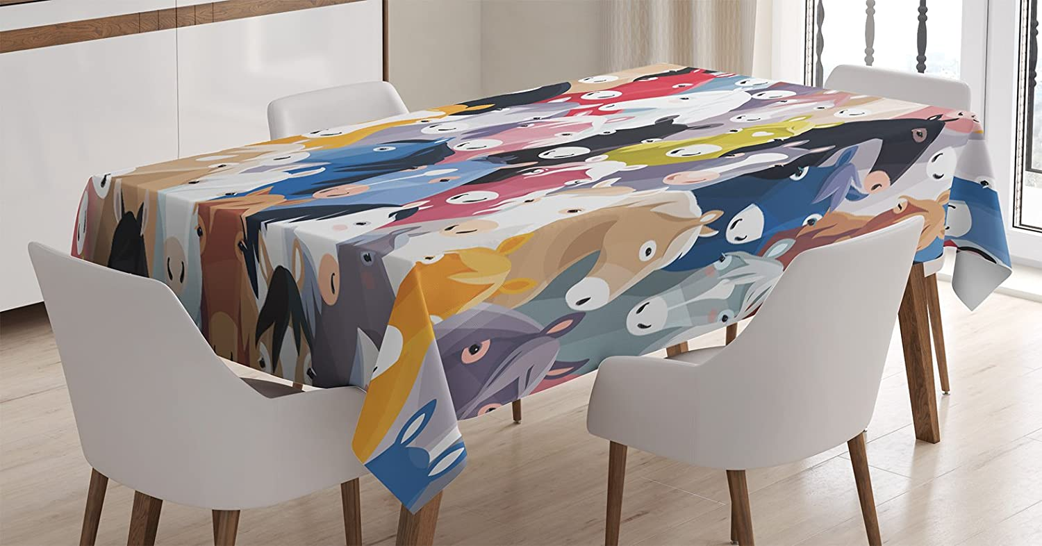 Amazon.com: Abstract Home Decor Tablecloth by Ambesonne, Pattern with Colourful Cartoon Horses Pony Childhood Childish Artwork, Dining Room Kitchen ...