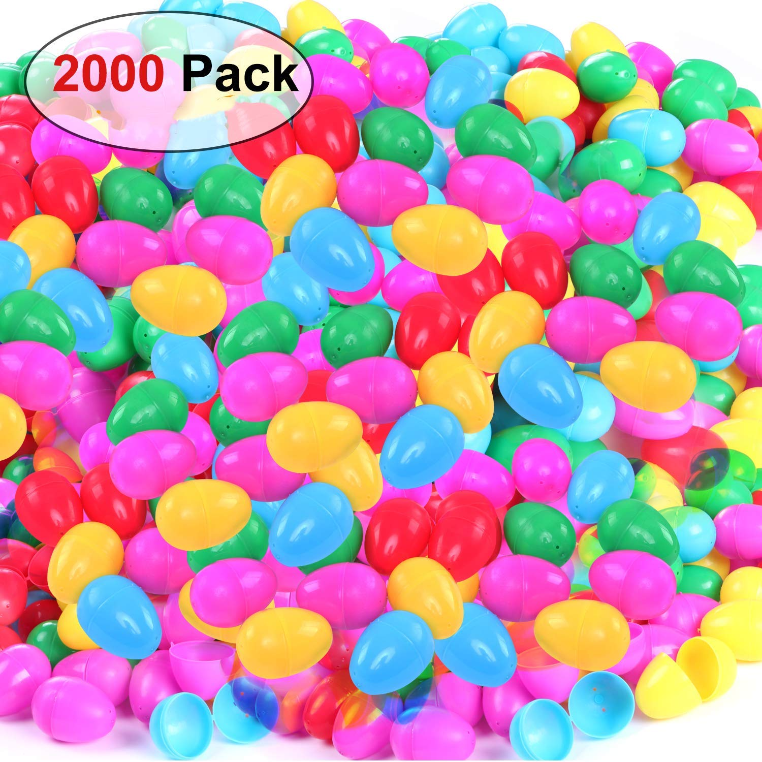 NEWBEA Plastic Jumbo Easter Eggs Assortment Unfilled for Kids (2000 Count)-Bright Colors, Easy Snap Shut, and Never Lose Pieces for Party Decoration Supplies (2000 Pack)