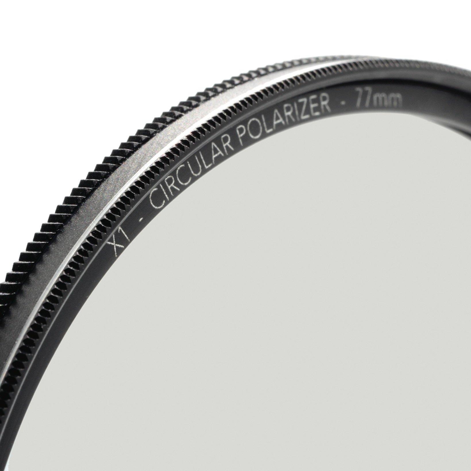 77mm X1 Circular Polarizer, MRC8, Ultra-slim, Weather Sealed + FREE Mircofiber Lens Cloth