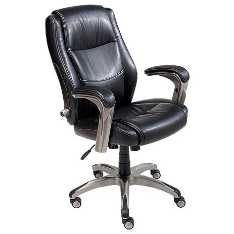 Amazon Com Serta Leather Memory Foam Manager S Chair Black