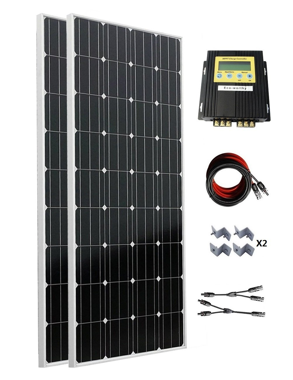 ECO-WORTHY 300 Watt (2PC 160W) Monocrystalline Off Grid Solar Panel Kit with 20A MPPT Charge Controller for 12V/24V Battery