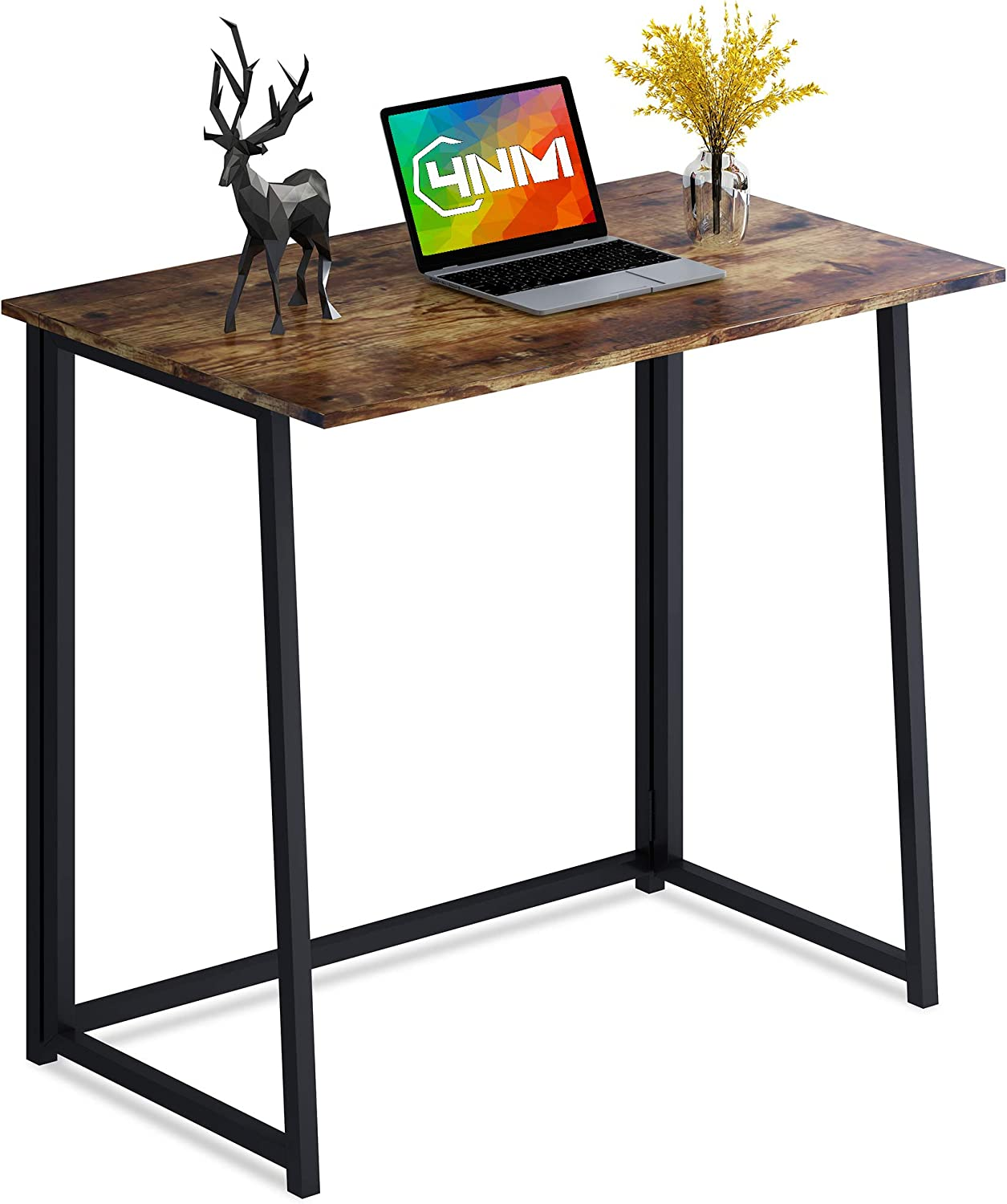 4NM Folding Desk, Small Computer Desk Home Office Desk Foldable Table Workstation for Small Places (Rustic Brown and Black)