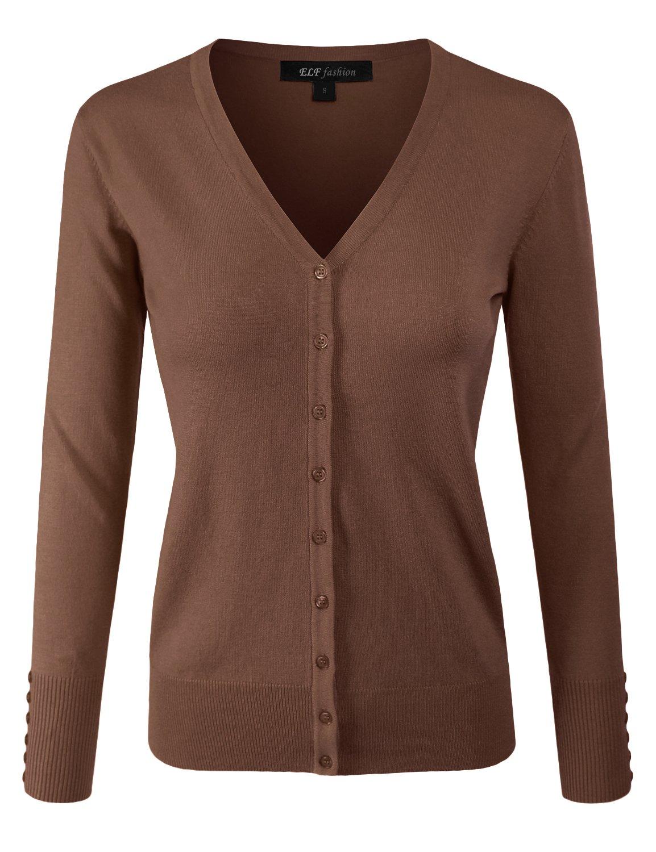 ELF FASHION Women Top Long Sleeve Button V-Neck Knit Sweater Cardigan (Size S~3XL) Mocha S