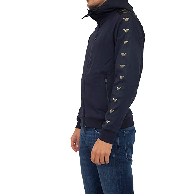 e682615669 Emporio Armani Mens Eagle Taped Zip Hoodie: Amazon.co.uk: Clothing