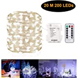 Gluckluz String Lights Indoor Bedroom Fairy Battery Operated 200 LED Lighting Copper Wire with Remote Control Waterproof for Outdoor Home Lawn Garden Patio Party Holiday Table Desk (Cool White)