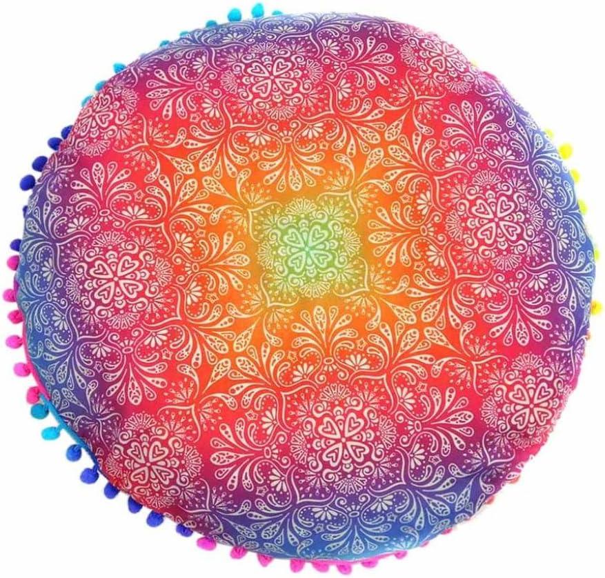 17.0*17.0 Indexp Round Pillowcase Indian Bohemian Cushions Mandala Floor Pillows Cover Style C