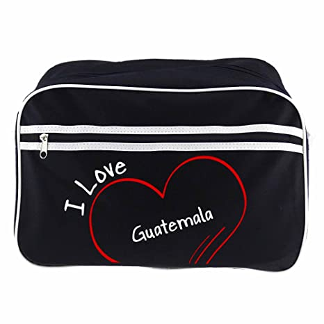 Bolso bandolera I Love Guatemala retro colour negro