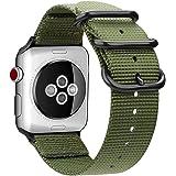 For Apple Watch バンド, Fintie 編みナイロン 時計バンド 交換ベルト アップルウォッチ交換ストラップ iWatch Apple Watch Series 44mm, Series 3 / Series 2 / Series 1 42mm 対応 (アーミーグリーン)