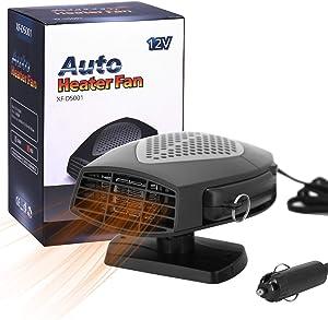 Portable Car Heater Car Windshield Defogger Defroster Auto Fast Heating or Cooling Fan 12V 150W Auto Ceramic Heater Fan 3-Outlet Plug in Cig Lighter,Black