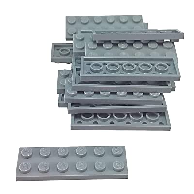 LEGO Parts and Pieces: Light Gray (Medium Stone Grey) 2x6 Plate x20: Toys & Games