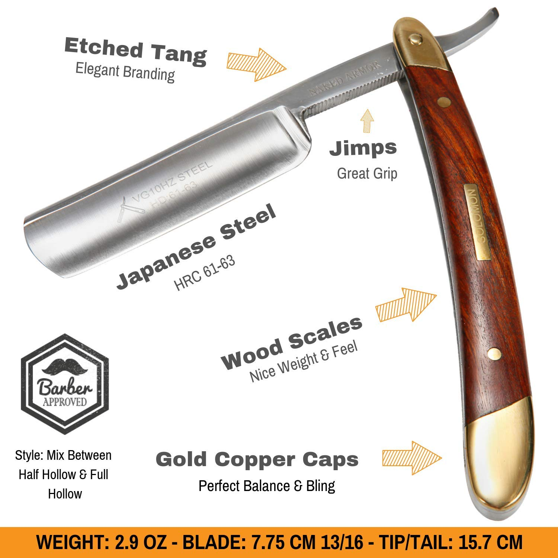 Amazing STRAIGHT RAZOR SHAVING KIT ~ Quality Shave at Home. Samurai SHARP Straight Edge Razor Set, Japan Steel, Strop, Soap, Badger Friendly Brush, Great Straight Razor Kits for Men, Dad Gift Box by Naked Armor (Image #3)