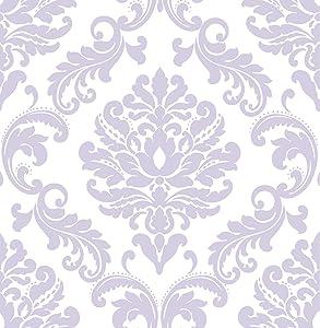 Wall Pops NU1396 Purple Ariel Peel and Stick Wallpaper