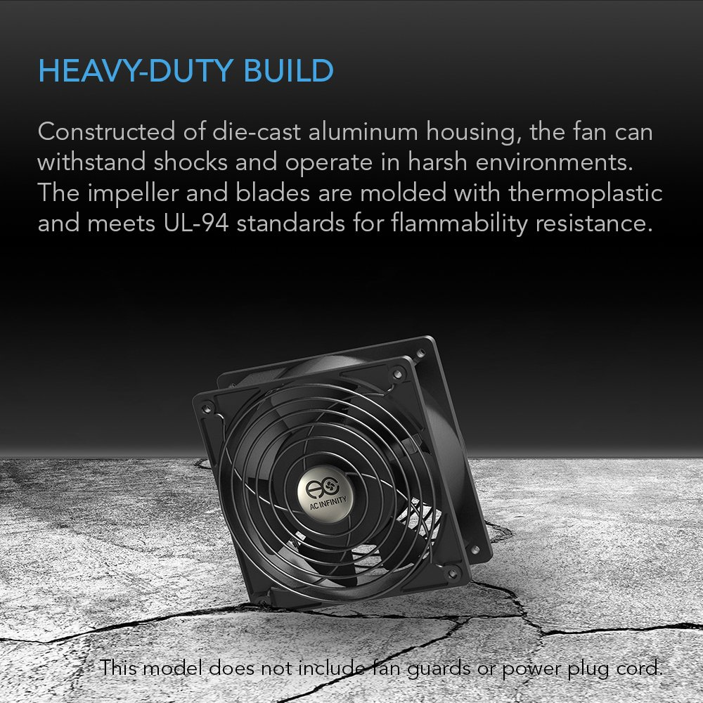 AC Infinity AXIAL 1238W, Muffin Fan, 115V 120V AC 120mm x 38mm High Speed, for DIY Cooling Ventilation Exhaust Projects by AC Infinity (Image #5)