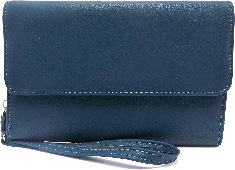 Mundi Women's Faux Leather Big Fat Wallet Flap RFID Clutch Ladies One Size Black i705x