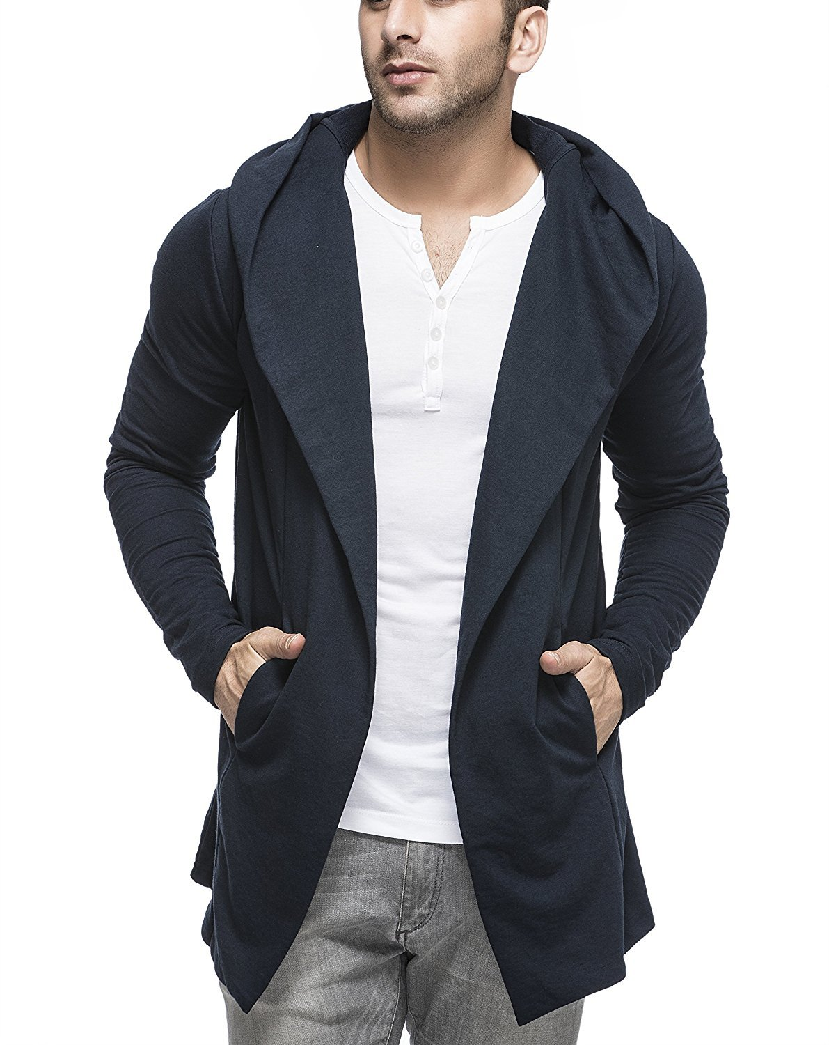 Tinted Men's Cotton Blend Hooded Cardigan (S, Navy)