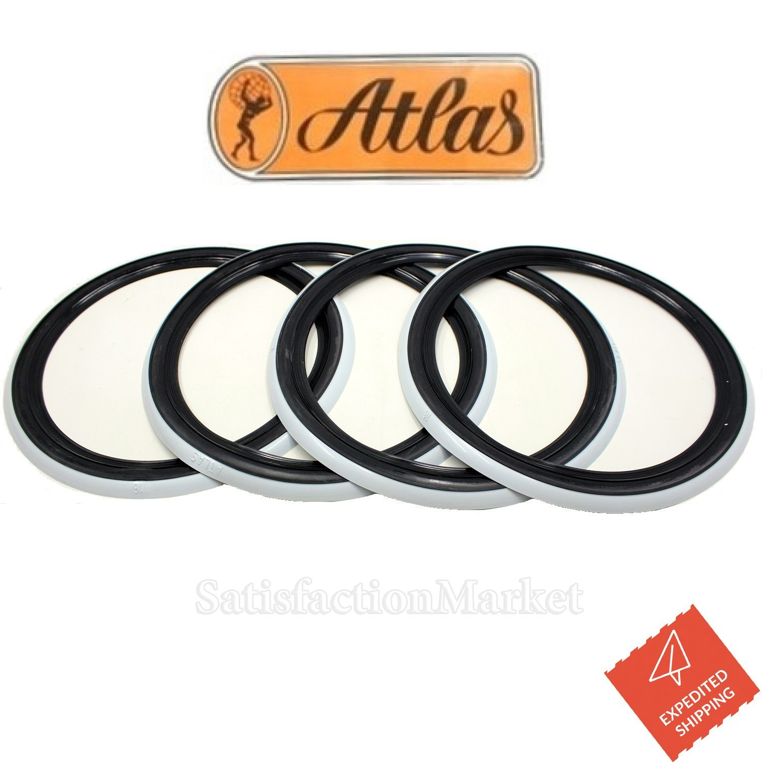 ATLAS 15' Black & White Two color, White Tire Wall Portawall Insert Trim Set 4pcs Atlas Kaucuk