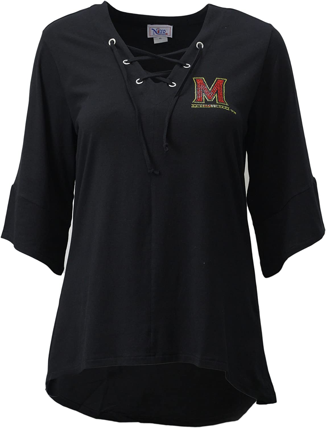 Black Nitro USA NCAA Maryland Terrapins Womens Collegiate Lace Up Tunic Top Size 1X