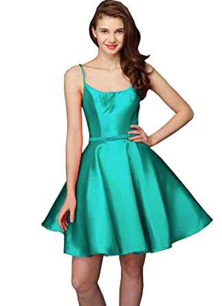 Womens Square Collar Satin Homecoming Prom Dresses With Belt Short